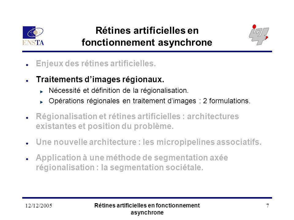 12/12/2005Rétines artificielles en fonctionnement asynchrone 7 Enjeux des rétines artificielles. Traitements dimages régionaux. Nécessité et définitio