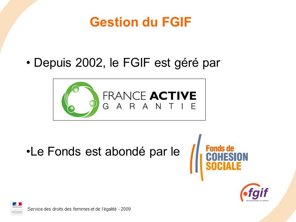 Service des droits des femmes et de légalité - 2008 Gestion du FGIF Depuis 2002, le FGIF est géré par Le Fonds est abondé par le Service des droits de
