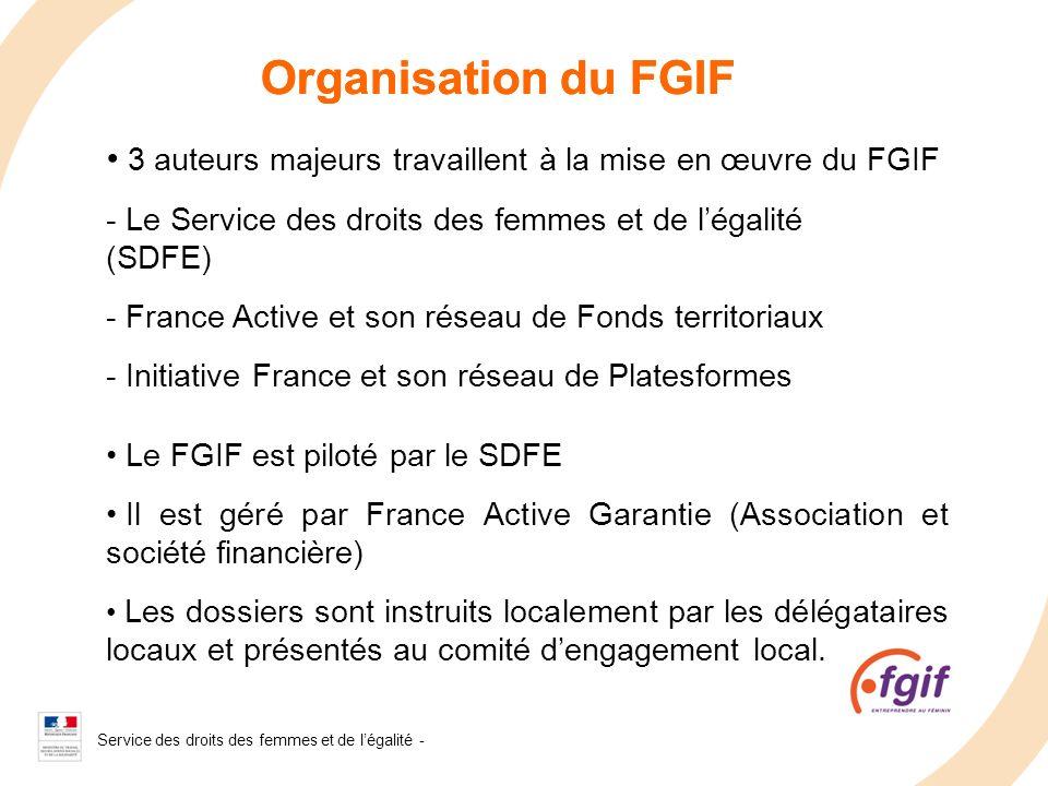 Service des droits des femmes et de légalité - 2008 Organisation du FGIF 3 auteurs majeurs travaillent à la mise en œuvre du FGIF - Le Service des dro