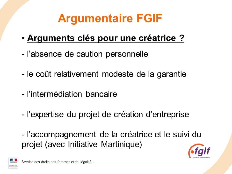 Service des droits des femmes et de légalité - 2008 Argumentaire FGIF Arguments clés pour une créatrice ? - labsence de caution personnelle - le coût