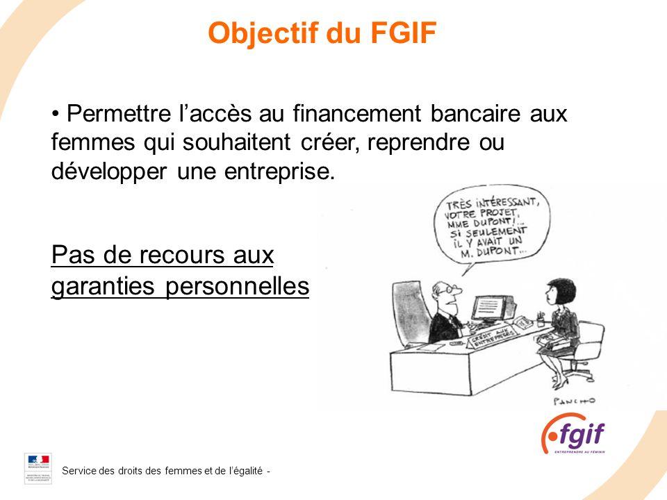 Service des droits des femmes et de légalité - 2008 Objectif du FGIF Permettre laccès au financement bancaire aux femmes qui souhaitent créer, reprend