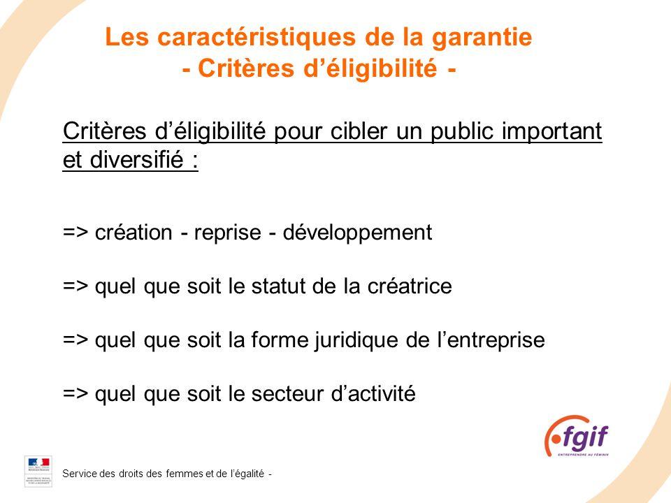 Service des droits des femmes et de légalité - 2008 Les caractéristiques de la garantie - Critères déligibilité - Critères déligibilité pour cibler un