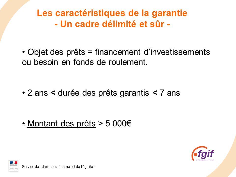 Service des droits des femmes et de légalité - 2008 Les caractéristiques de la garantie - Un cadre délimité et sûr - Objet des prêts = financement din