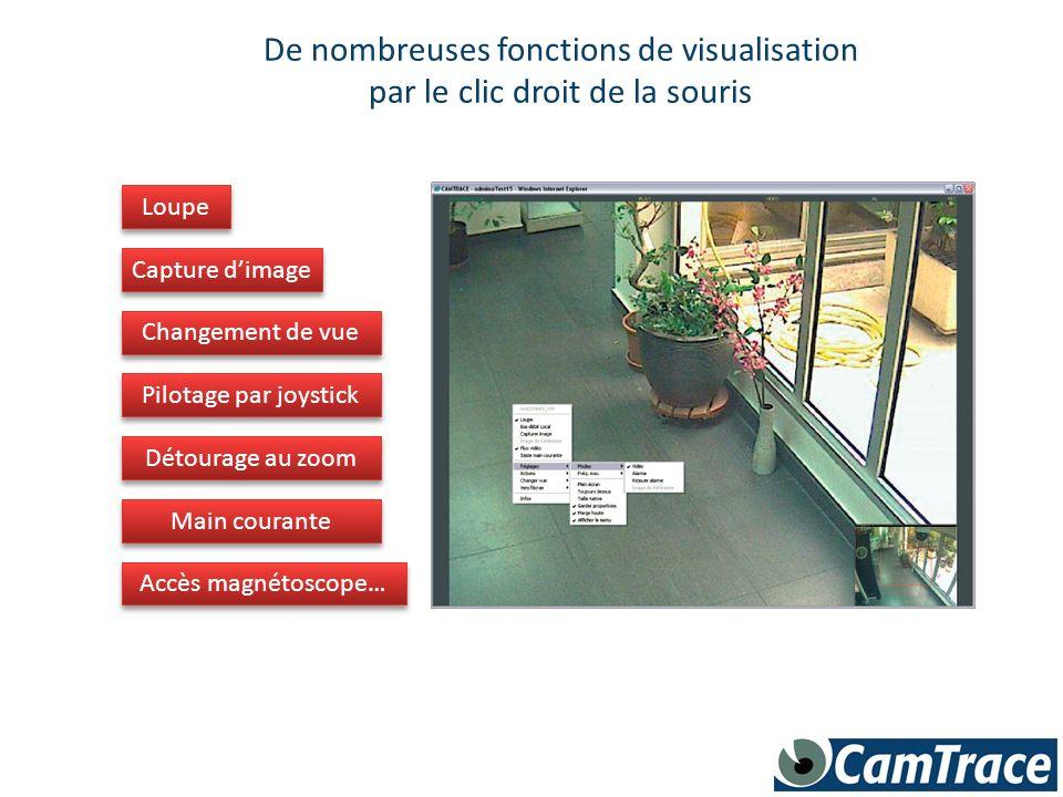 De nombreuses fonctions de visualisation par le clic droit de la souris Loupe Capture dimage Changement de vue Pilotage par joystick Détourage au zoom