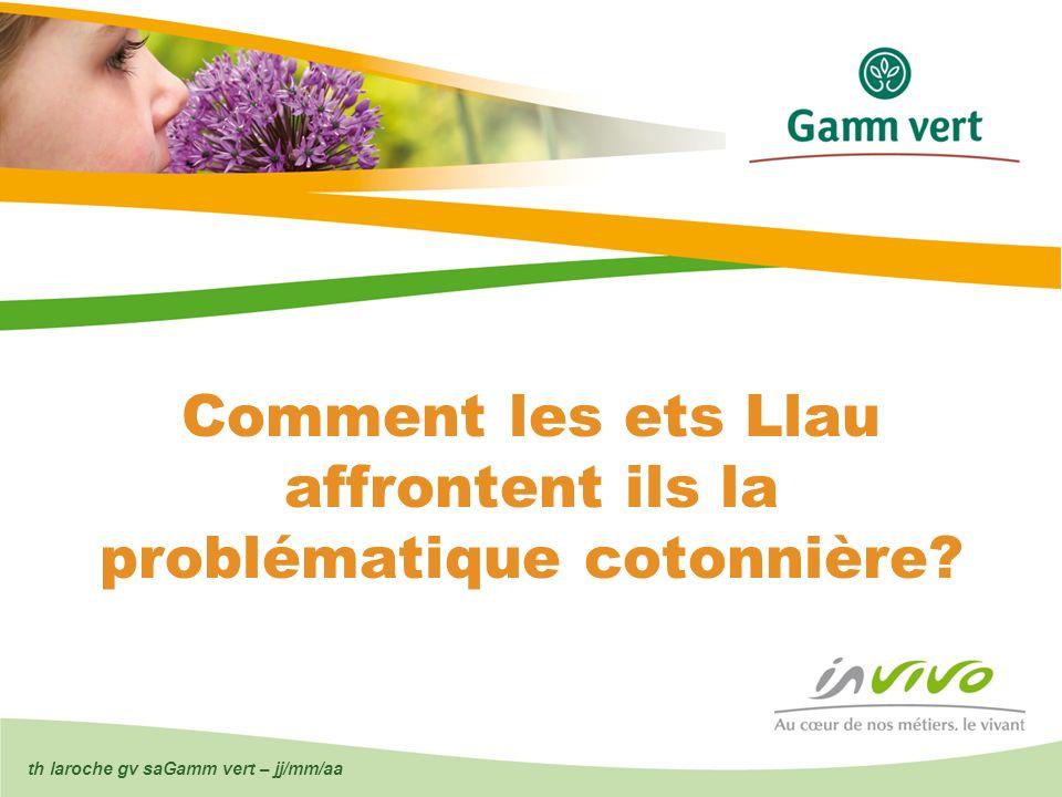 th laroche gv saGamm vert – jj/mm/aa Comment les ets Llau affrontent ils la problématique cotonnière?