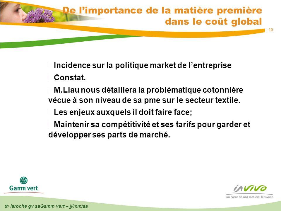 th laroche gv saGamm vert – jj/mm/aa 10 De limportance de la matière première dans le coût global Incidence sur la politique market de lentreprise Con