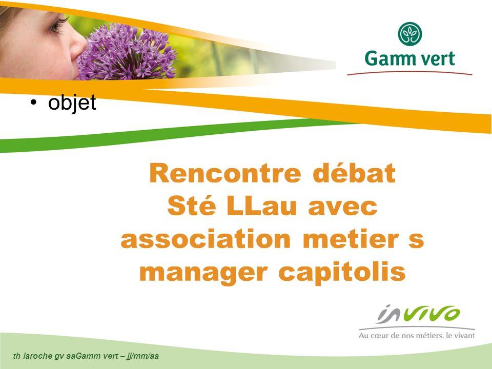 th laroche gv saGamm vert – jj/mm/aa Rencontre débat Sté LLau avec association metier s manager capitolis objet