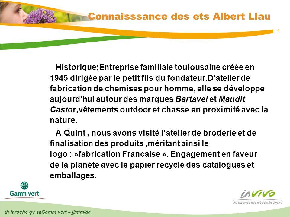 th laroche gv saGamm vert – jj/mm/aa 4 Connaisssance des ets Albert Llau Historique;Entreprise familiale toulousaine créée en 1945 dirigée par le peti