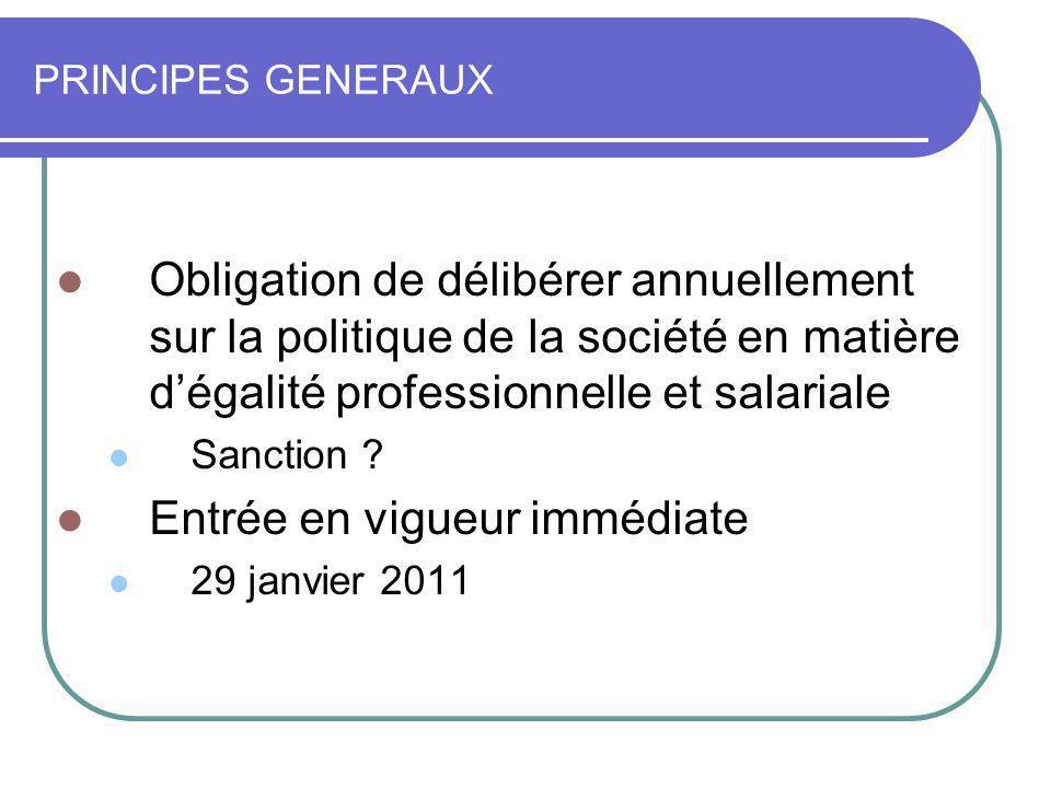 PRINCIPES GENERAUX Obligation de délibérer annuellement sur la politique de la société en matière dégalité professionnelle et salariale Sanction ? Ent