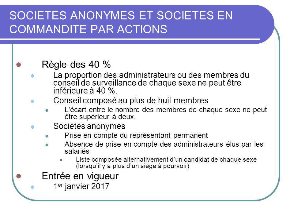 SOCIETES ANONYMES ET SOCIETES EN COMMANDITE PAR ACTIONS Règle des 40 % La proportion des administrateurs ou des membres du conseil de surveillance de