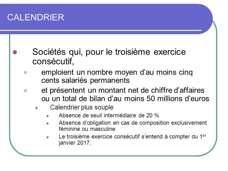 CALENDRIER Sociétés qui, pour le troisième exercice consécutif, emploient un nombre moyen dau moins cinq cents salariés permanents et présentent un mo