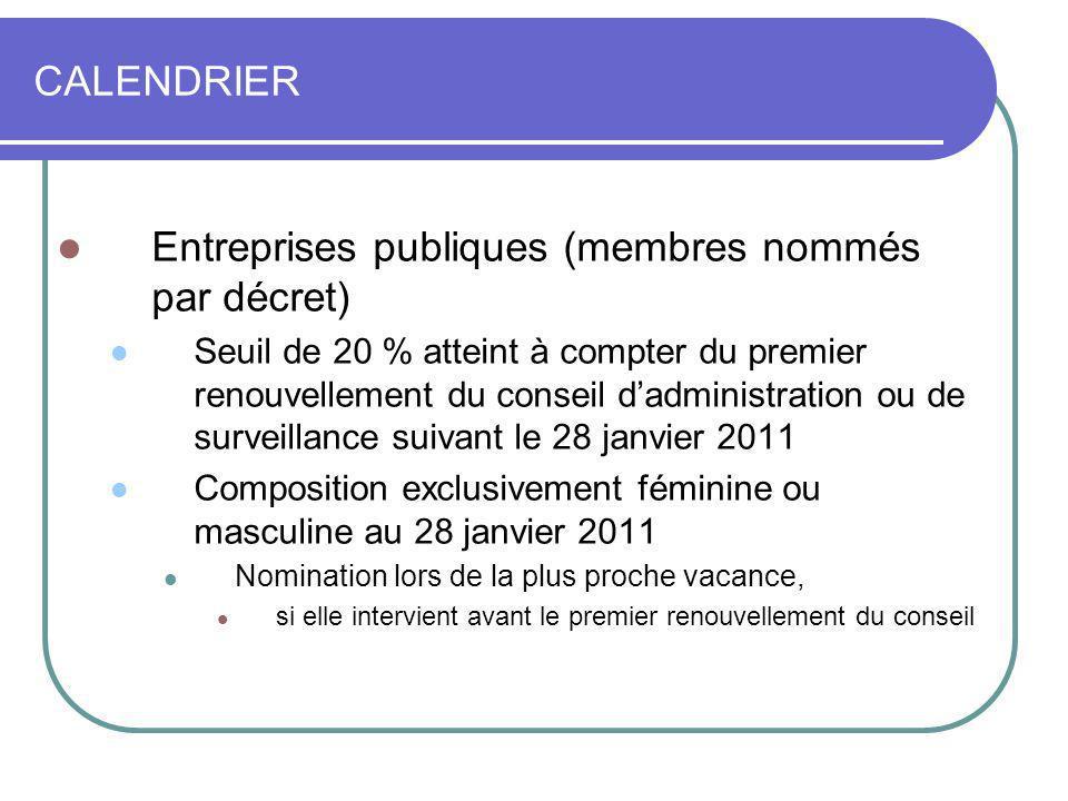 CALENDRIER Entreprises publiques (membres nommés par décret) Seuil de 20 % atteint à compter du premier renouvellement du conseil dadministration ou d