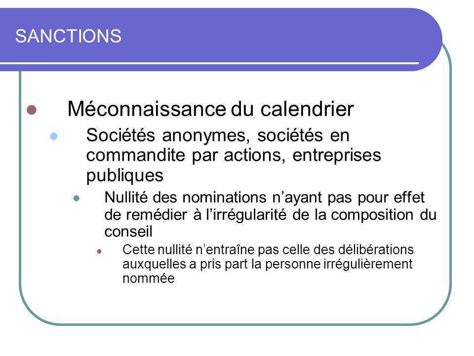 SANCTIONS Méconnaissance du calendrier Sociétés anonymes, sociétés en commandite par actions, entreprises publiques Nullité des nominations nayant pas