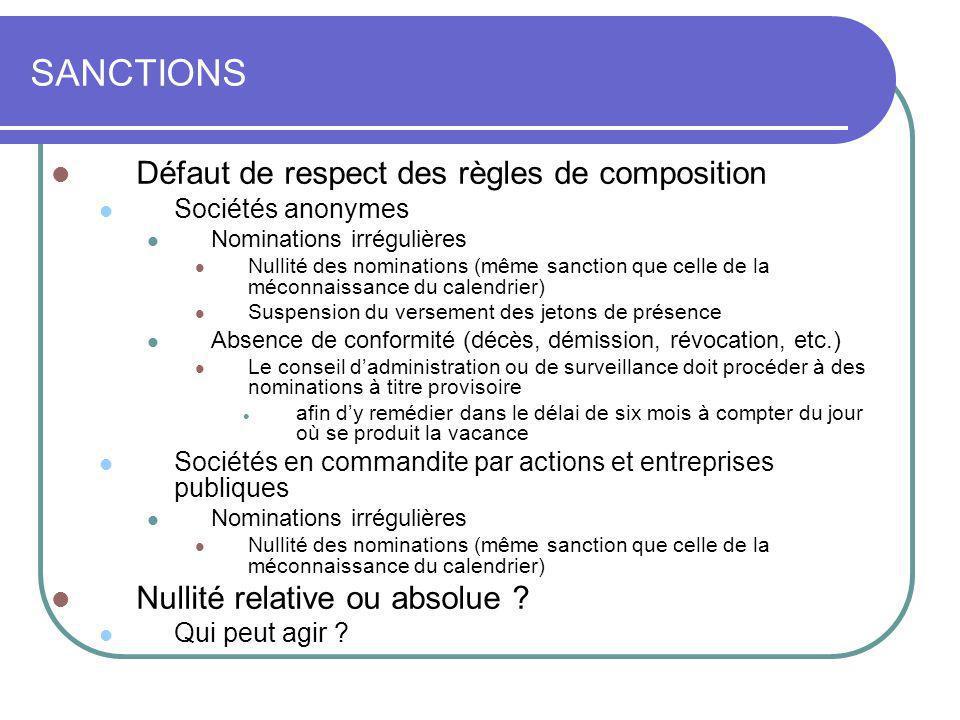 SANCTIONS Défaut de respect des règles de composition Sociétés anonymes Nominations irrégulières Nullité des nominations (même sanction que celle de l