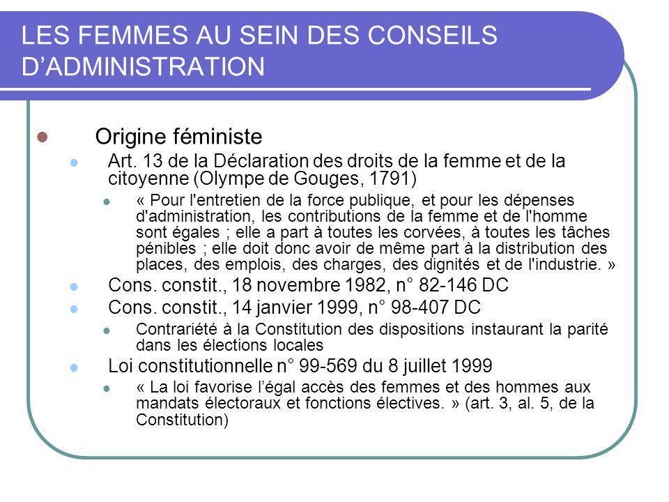 LES FEMMES AU SEIN DES CONSEILS DADMINISTRATION Origine féministe Art. 13 de la Déclaration des droits de la femme et de la citoyenne (Olympe de Gouge
