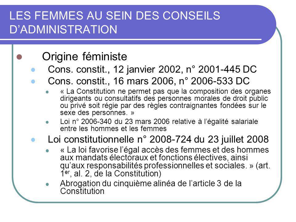 LES FEMMES AU SEIN DES CONSEILS DADMINISTRATION Origine féministe Loi organique n° 2010-704 du 28 juin 2010 relative au Conseil économique, social et environnemental Parité dans la désignation des membres du Conseil par les organisations (art.