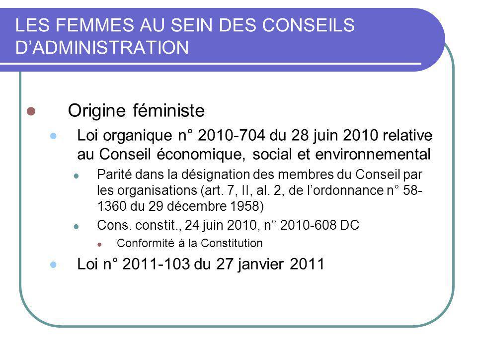 LES FEMMES AU SEIN DES CONSEILS DADMINISTRATION Origine féministe Loi organique n° 2010-704 du 28 juin 2010 relative au Conseil économique, social et