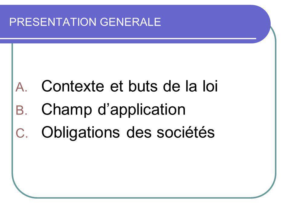 PRESENTATION GENERALE A. Contexte et buts de la loi B. Champ dapplication C. Obligations des sociétés