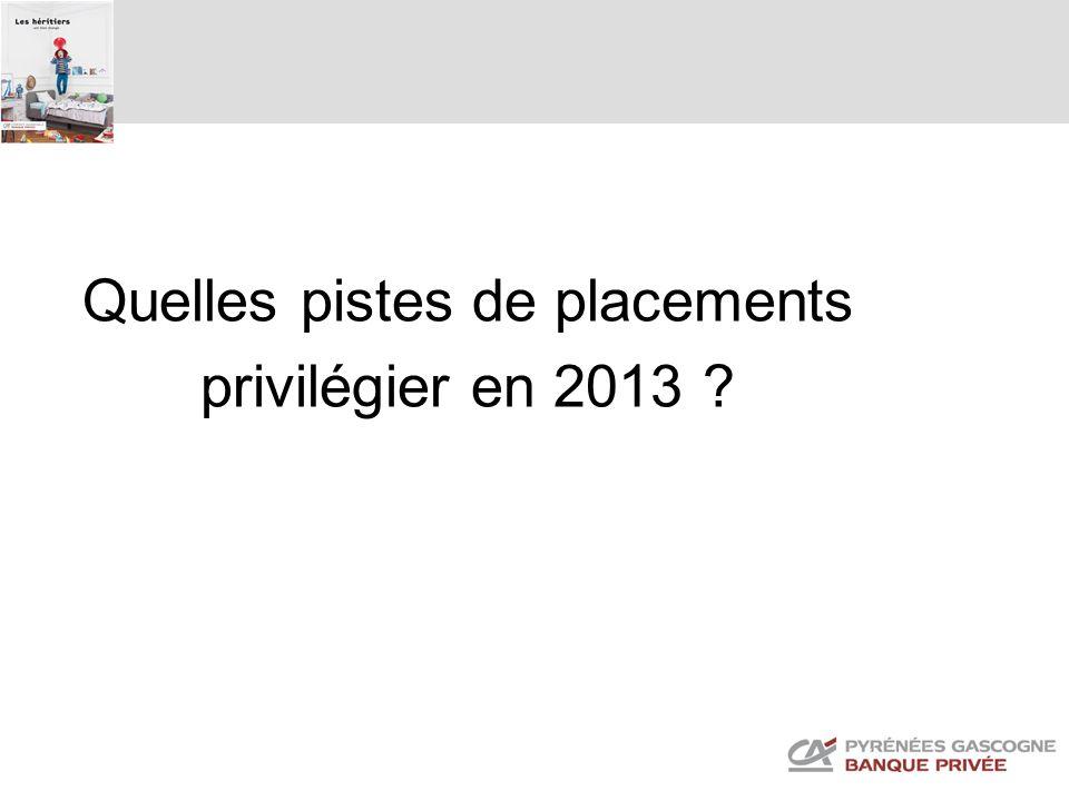 Quelles pistes de placements privilégier en 2013 ?