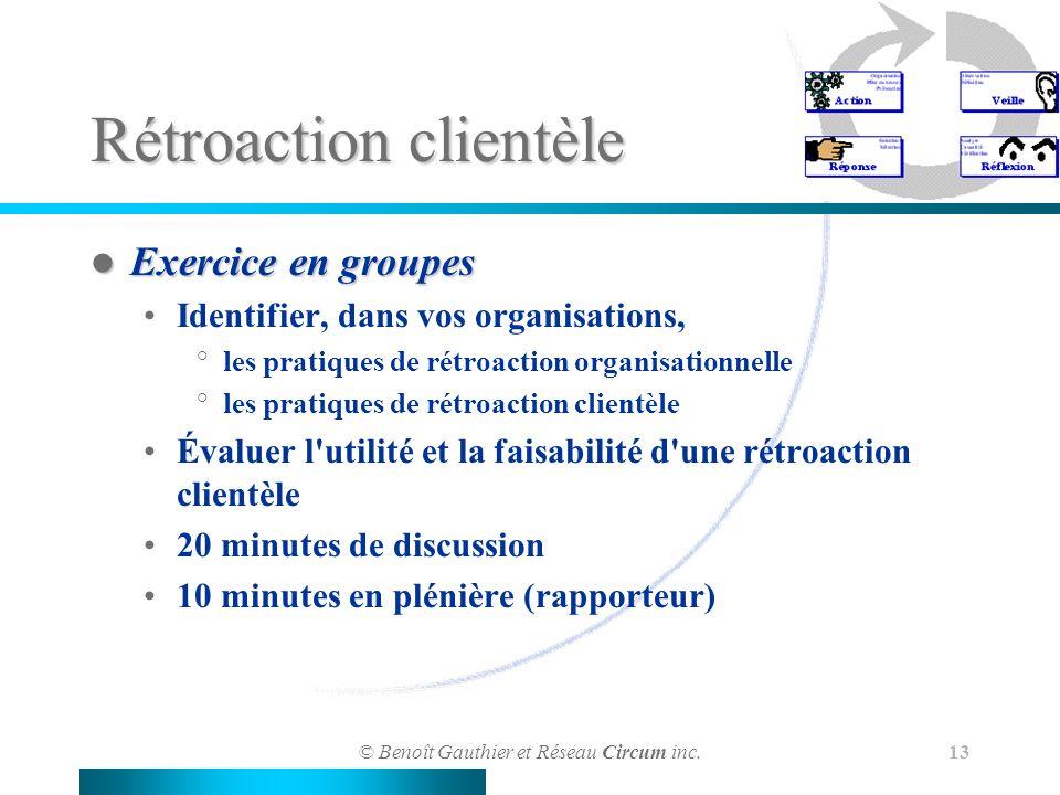© Benoît Gauthier et Réseau Circum inc. 13 Rétroaction clientèle Exercice en groupes Exercice en groupes Identifier, dans vos organisations, °les prat