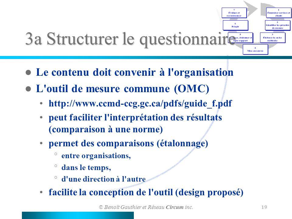 © Benoît Gauthier et Réseau Circum inc. 19 3a Structurer le questionnaire Le contenu doit convenir à l'organisation L'outil de mesure commune (OMC) ht