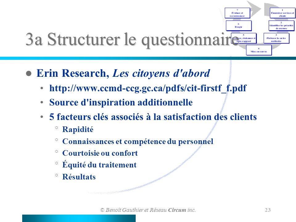 © Benoît Gauthier et Réseau Circum inc. 23 3a Structurer le questionnaire Erin Research, Les citoyens d'abord http://www.ccmd-ccg.gc.ca/pdfs/cit-first