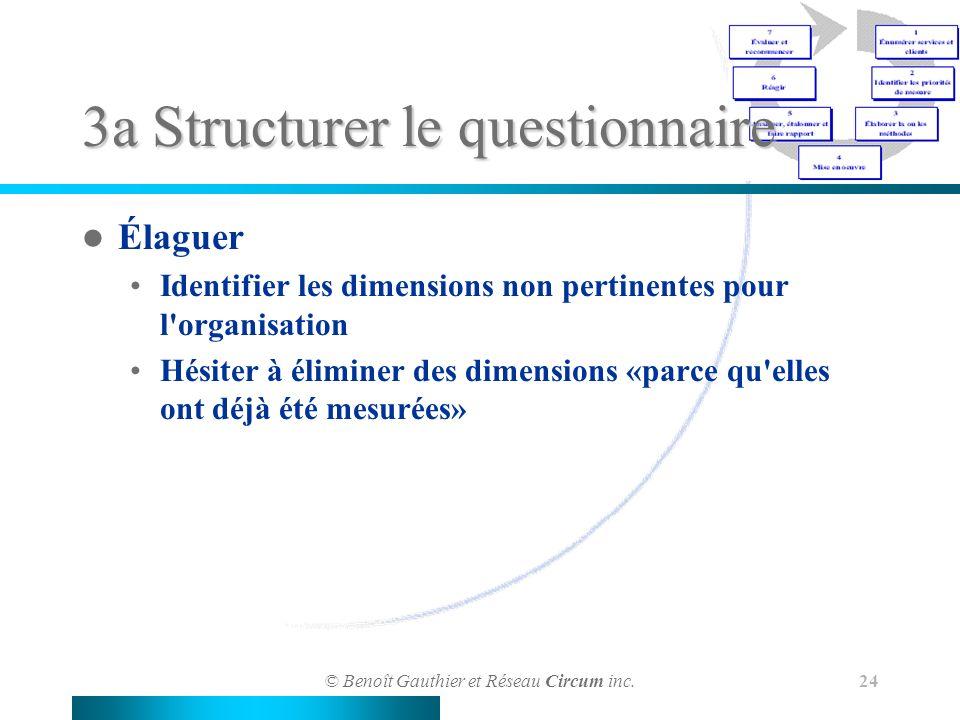 © Benoît Gauthier et Réseau Circum inc. 24 3a Structurer le questionnaire Élaguer Identifier les dimensions non pertinentes pour l'organisation Hésite