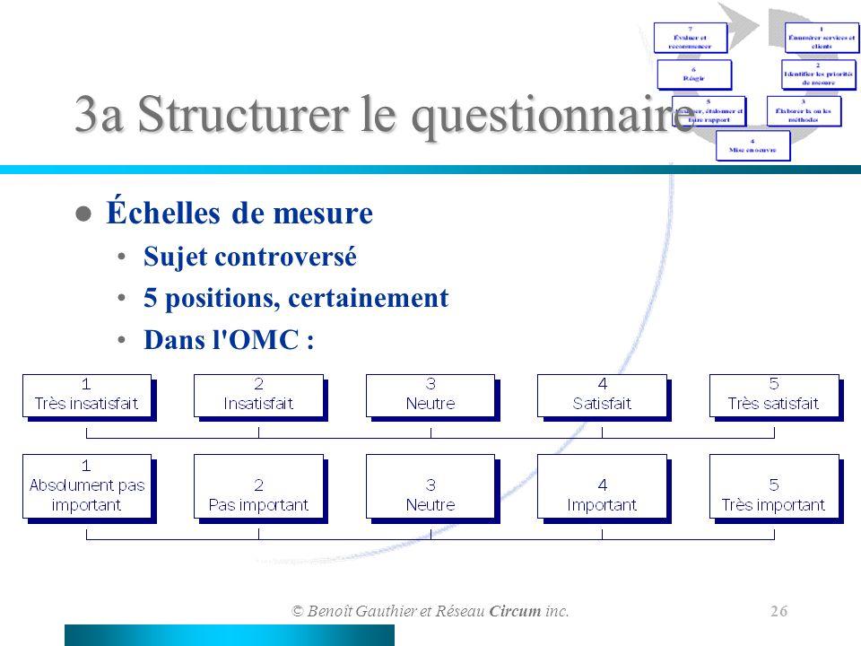 © Benoît Gauthier et Réseau Circum inc. 26 3a Structurer le questionnaire Échelles de mesure Sujet controversé 5 positions, certainement Dans l'OMC :