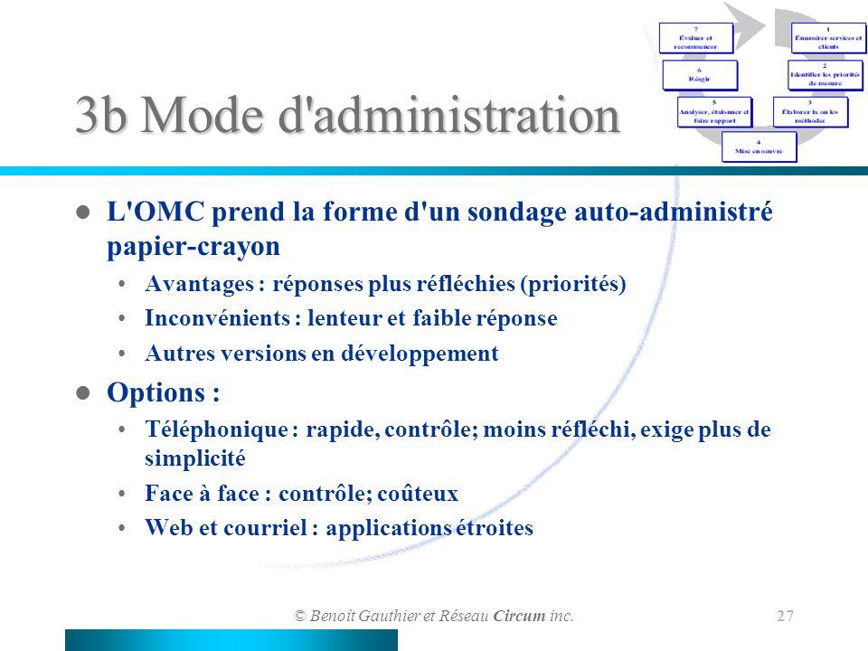 © Benoît Gauthier et Réseau Circum inc. 27 3b Mode d'administration L'OMC prend la forme d'un sondage auto-administré papier-crayon Avantages : répons