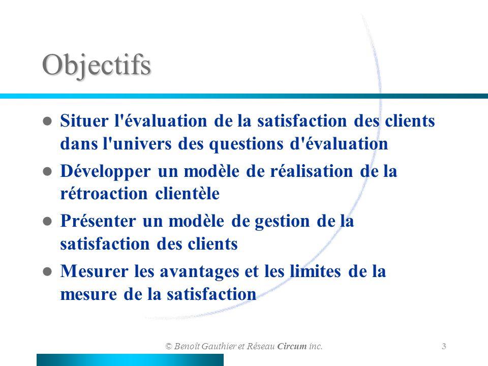 © Benoît Gauthier et Réseau Circum inc. 3 Objectifs Situer l'évaluation de la satisfaction des clients dans l'univers des questions d'évaluation Dével
