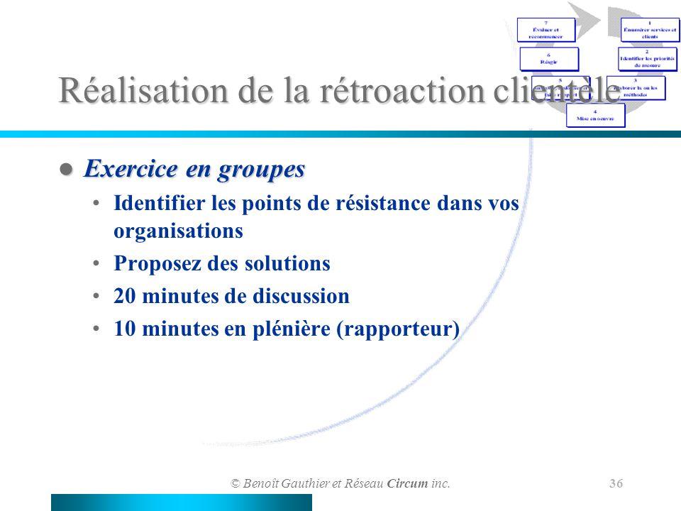 © Benoît Gauthier et Réseau Circum inc. 36 Réalisation de la rétroaction clientèle Exercice en groupes Exercice en groupes Identifier les points de ré