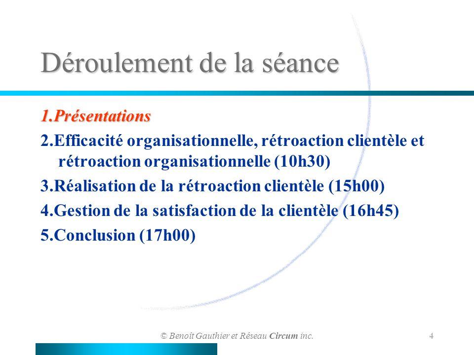 © Benoît Gauthier et Réseau Circum inc. 4 Déroulement de la séance 1.Présentations 2.Efficacité organisationnelle, rétroaction clientèle et rétroactio