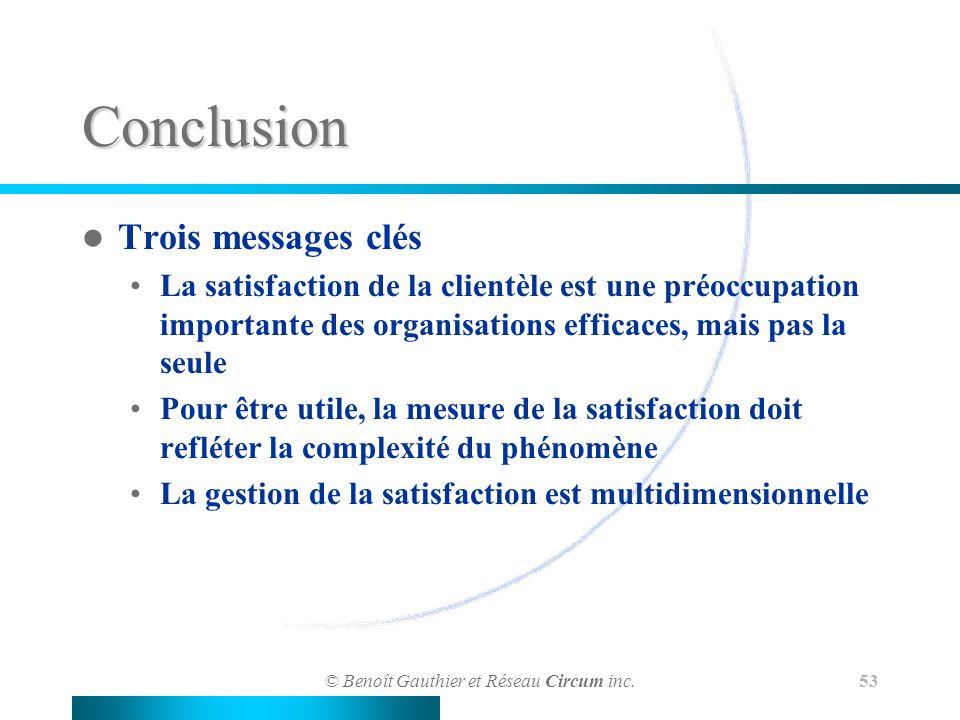 © Benoît Gauthier et Réseau Circum inc. 53 Conclusion Trois messages clés La satisfaction de la clientèle est une préoccupation importante des organis