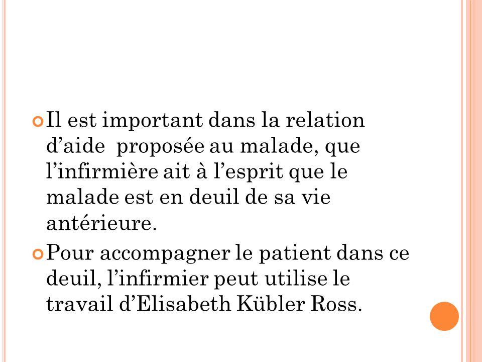 Il est important dans la relation daide proposée au malade, que linfirmière ait à lesprit que le malade est en deuil de sa vie antérieure. Pour accomp