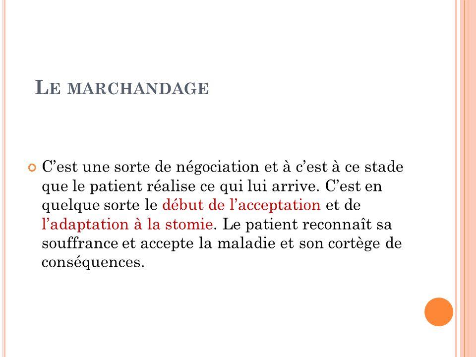 L E MARCHANDAGE Cest une sorte de négociation et à cest à ce stade que le patient réalise ce qui lui arrive. Cest en quelque sorte le début de laccept