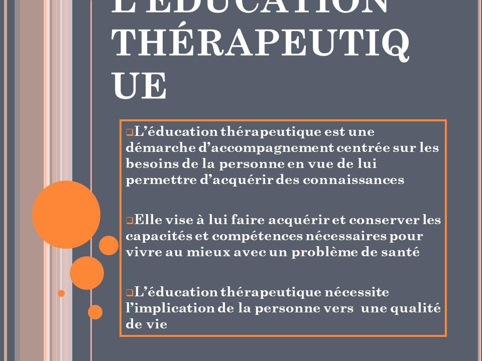LÉDUCATION THÉRAPEUTIQ UE Léducation thérapeutique est une démarche daccompagnement centrée sur les besoins de la personne en vue de lui permettre dac