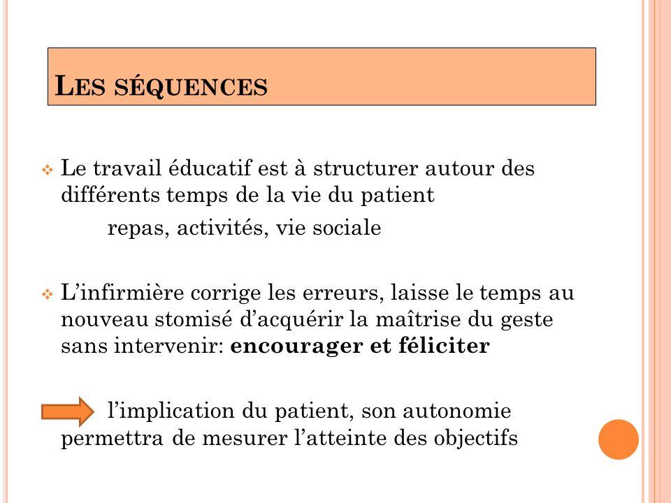 L ES SÉQUENCES Le travail éducatif est à structurer autour des différents temps de la vie du patient repas, activités, vie sociale Linfirmière corrige