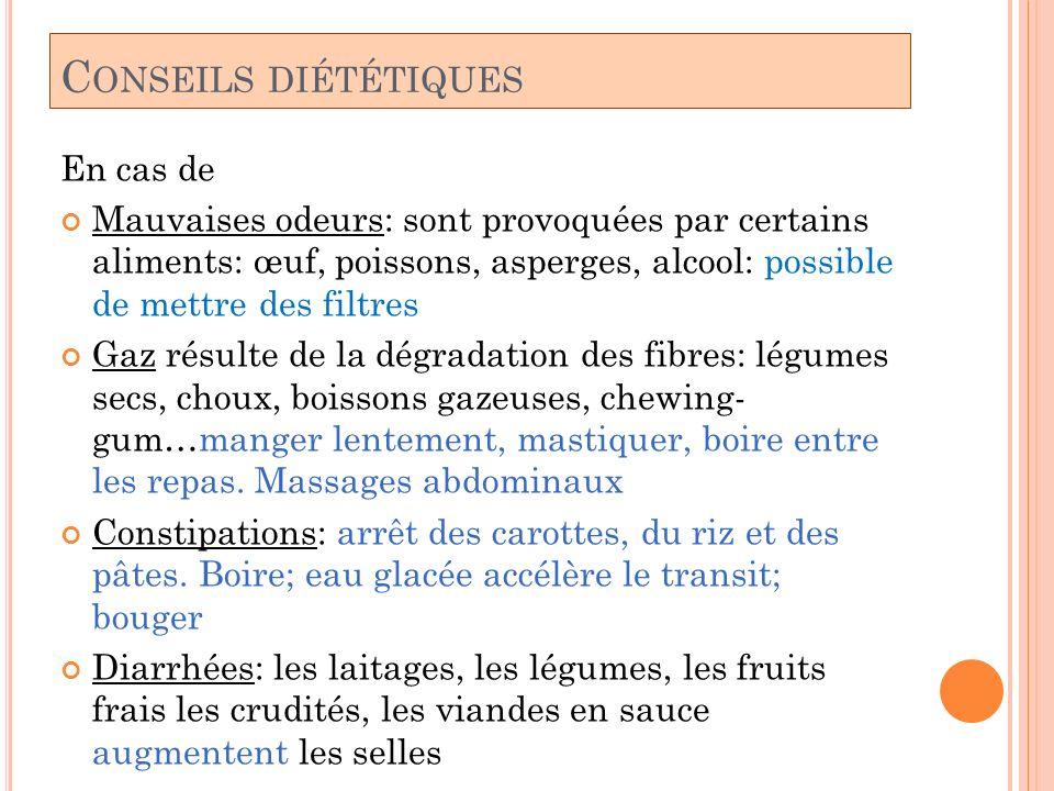 C ONSEILS DIÉTÉTIQUES En cas de Mauvaises odeurs: sont provoquées par certains aliments: œuf, poissons, asperges, alcool: possible de mettre des filtr