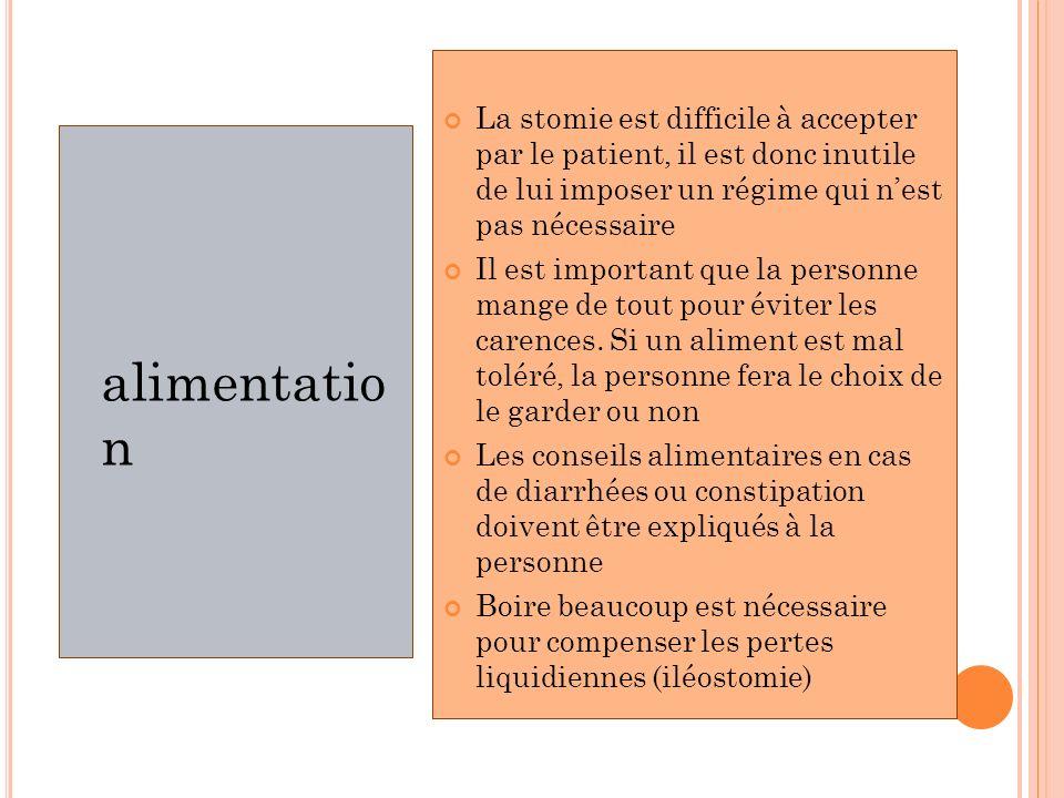 alimentatio n La stomie est difficile à accepter par le patient, il est donc inutile de lui imposer un régime qui nest pas nécessaire Il est important