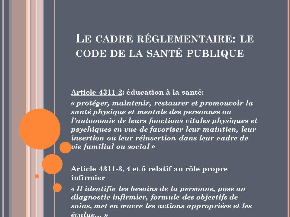 L E CADRE RÉGLEMENTAIRE : LE CODE DE LA SANTÉ PUBLIQUE Article 4311-2: éducation à la santé: « protéger, maintenir, restaurer et promouvoir la santé p