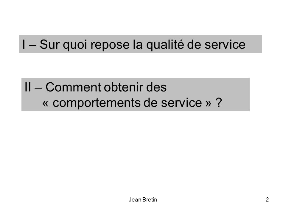 Jean Bretin2 I – Sur quoi repose la qualité de service II – Comment obtenir des « comportements de service » ?