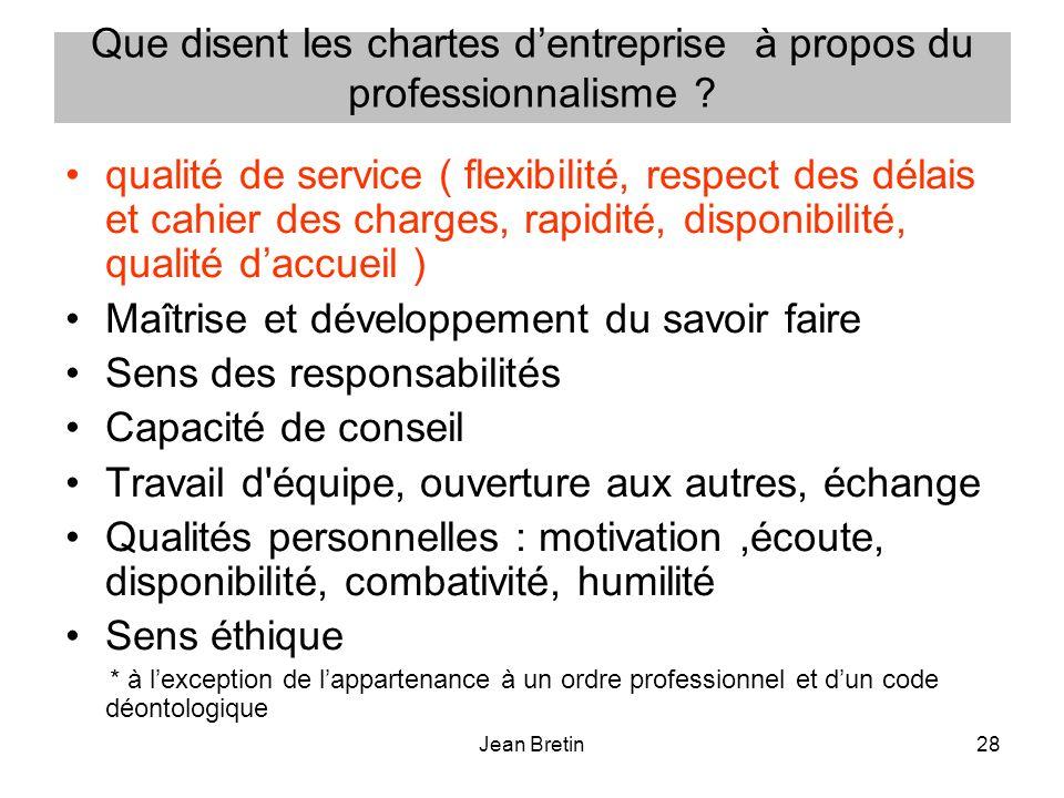 Jean Bretin28 Que disent les chartes dentreprise à propos du professionnalisme ? qualité de service ( flexibilité, respect des délais et cahier des ch