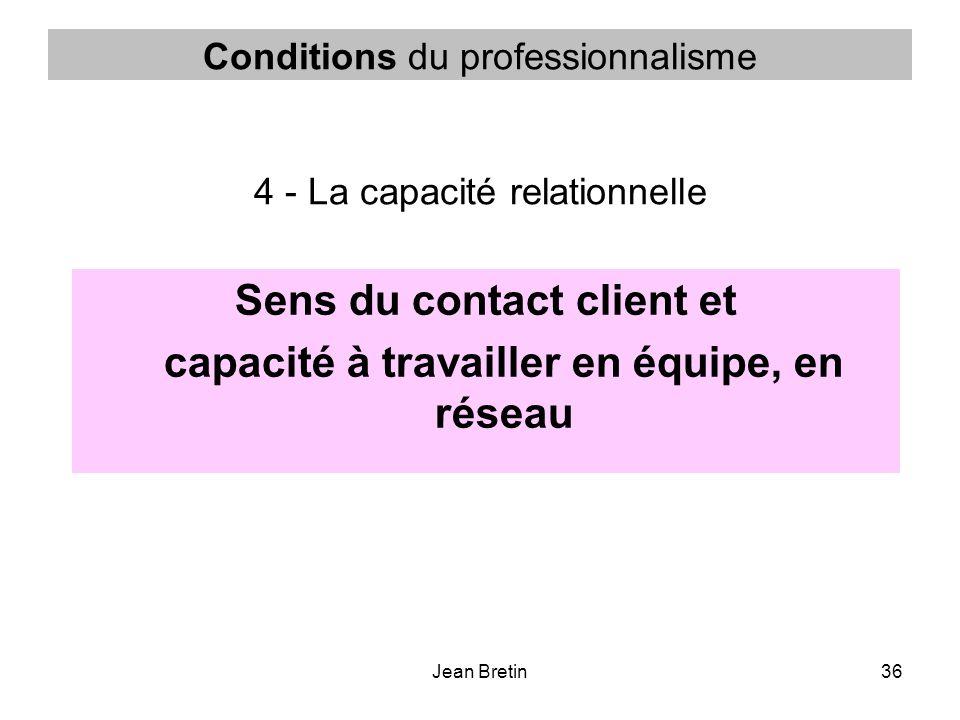 Jean Bretin36 Conditions du professionnalisme 4 - La capacité relationnelle Sens du contact client et capacité à travailler en équipe, en réseau