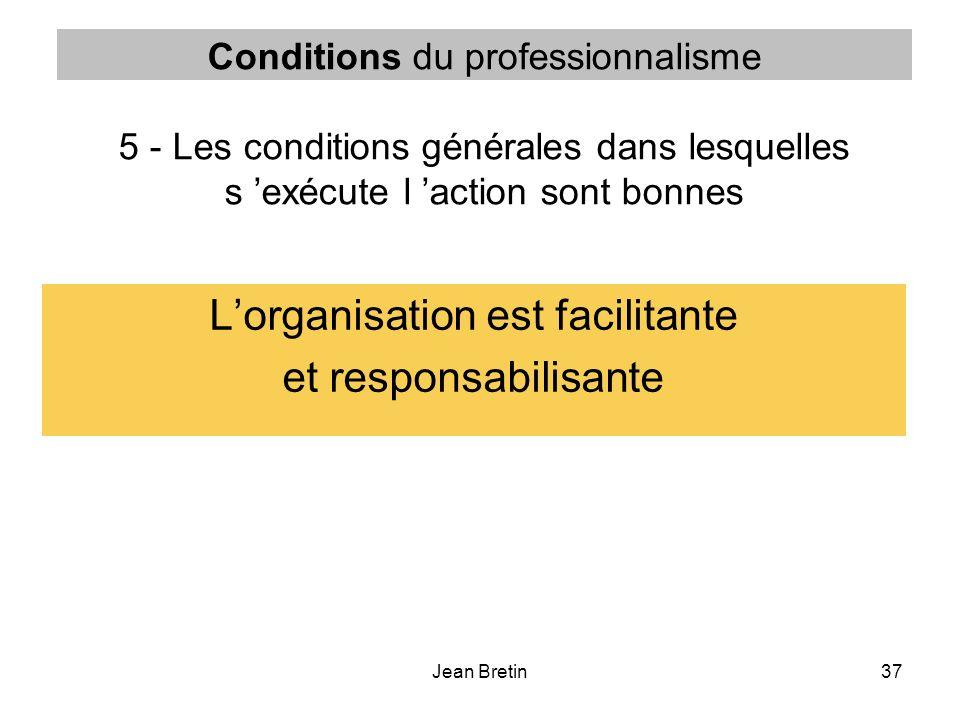 Jean Bretin37 Conditions du professionnalisme 5 - Les conditions générales dans lesquelles s exécute l action sont bonnes Lorganisation est facilitant