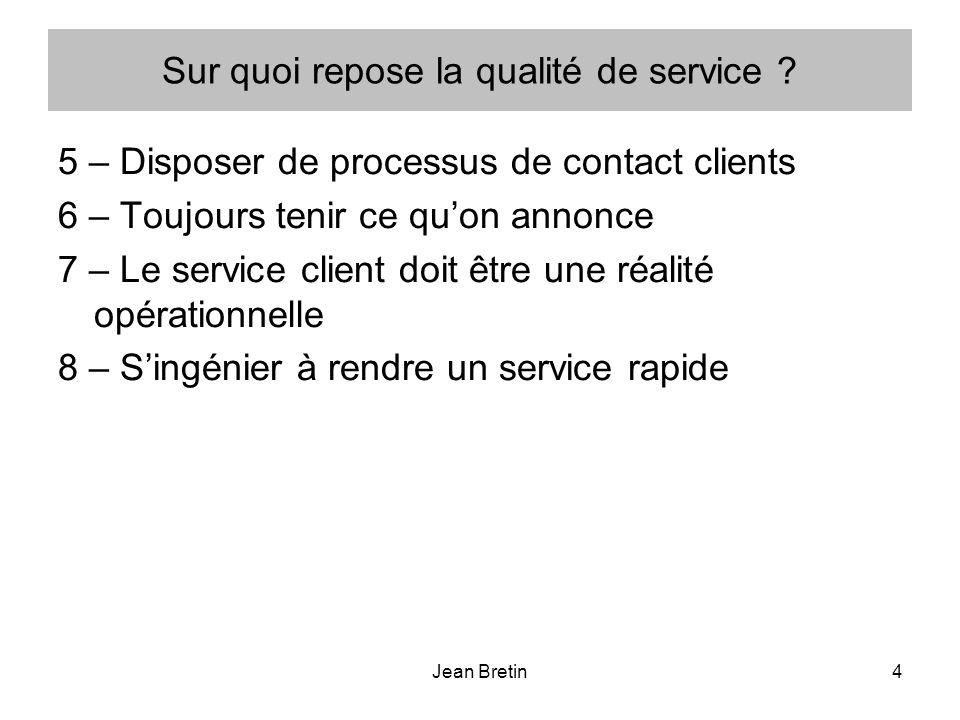 Jean Bretin4 Sur quoi repose la qualité de service ? 5 – Disposer de processus de contact clients 6 – Toujours tenir ce quon annonce 7 – Le service cl