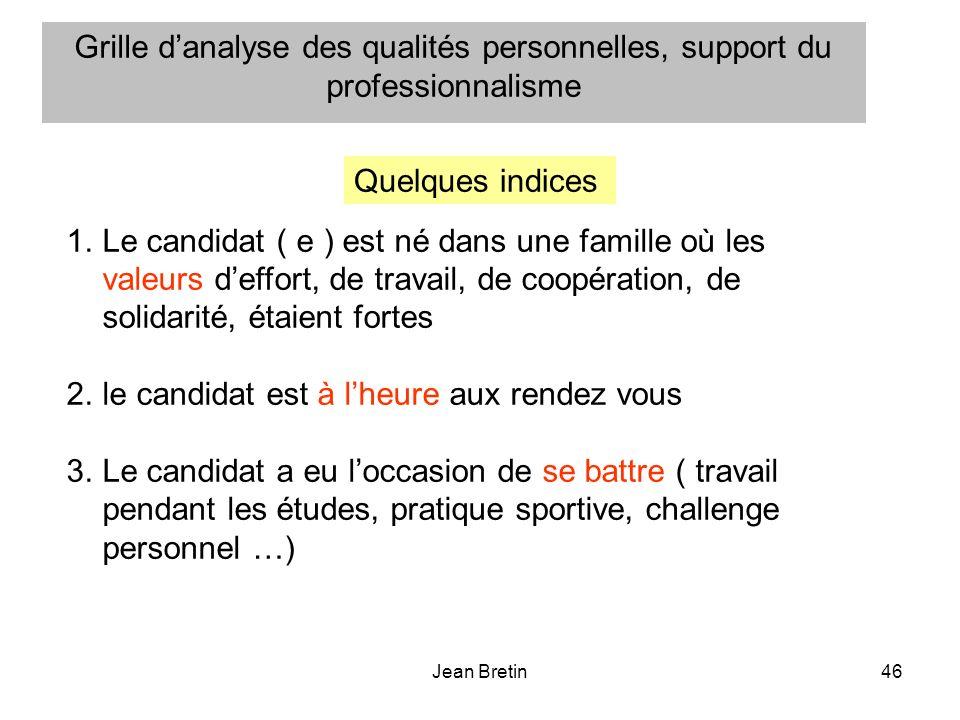 Jean Bretin46 1.Le candidat ( e ) est né dans une famille où les valeurs deffort, de travail, de coopération, de solidarité, étaient fortes 2.le candi
