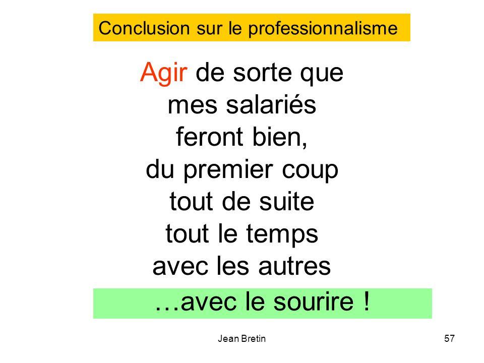 Jean Bretin57 Agir de sorte que mes salariés feront bien, du premier coup tout de suite tout le temps avec les autres …avec le sourire ! Conclusion su