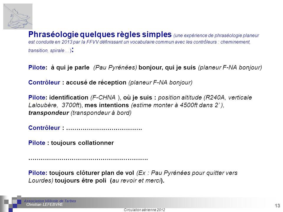 13 Séminaire « Définition de Produits » : méthodologie de définition dune pièce GREC INITIALES Circulation aérienne 2012 Association Vélivole de Tarbe
