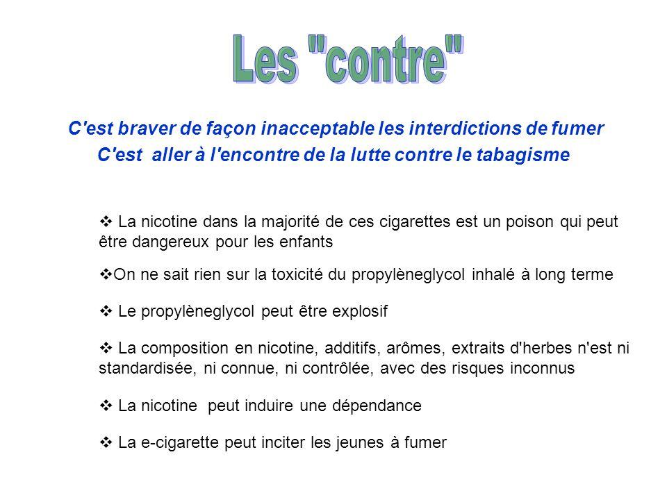 C'est braver de façon inacceptable les interdictions de fumer C'est aller à l'encontre de la lutte contre le tabagisme La nicotine dans la majorité de