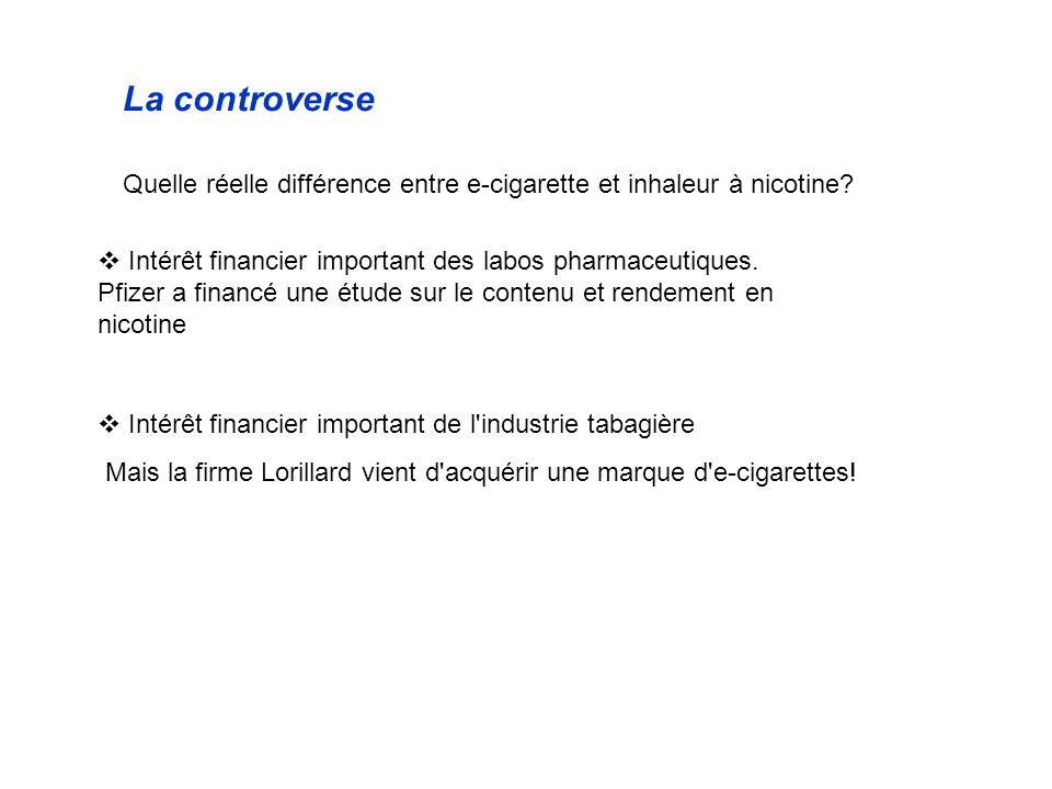 La controverse Quelle réelle différence entre e-cigarette et inhaleur à nicotine? Intérêt financier important des labos pharmaceutiques. Pfizer a fina